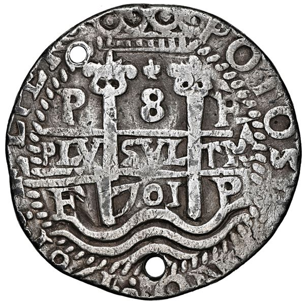Potosi, Bolivia, cob 8 reales Royal (galano), 1701 F, Charles II posthumous, NGC VF details / holed.