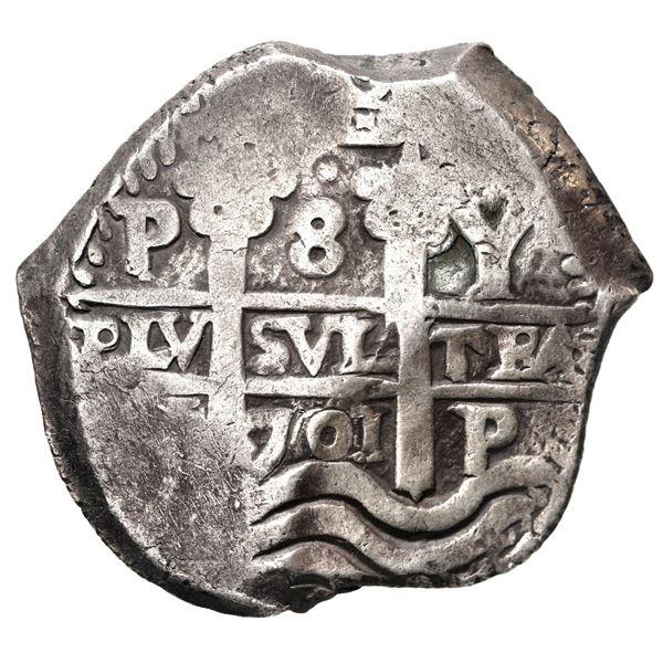 Potosi, Bolivia, cob 8 reales, 1701 Y, Charles II posthumous.