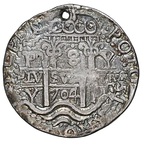 Potosi, Bolivia, cob 8 reales Royal (galano), 1704 Y, NGC VF details / holed.