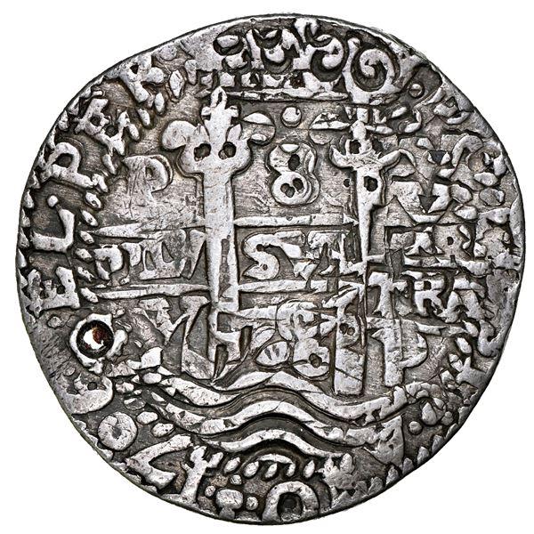 Potosi, Bolivia, cob 8 reales Royal (galano), 1706 Y, NGC Fine details / holed.
