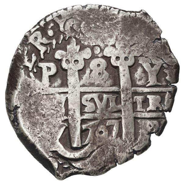 Potosi, Bolivia, cob 8 reales, 1707 Y.