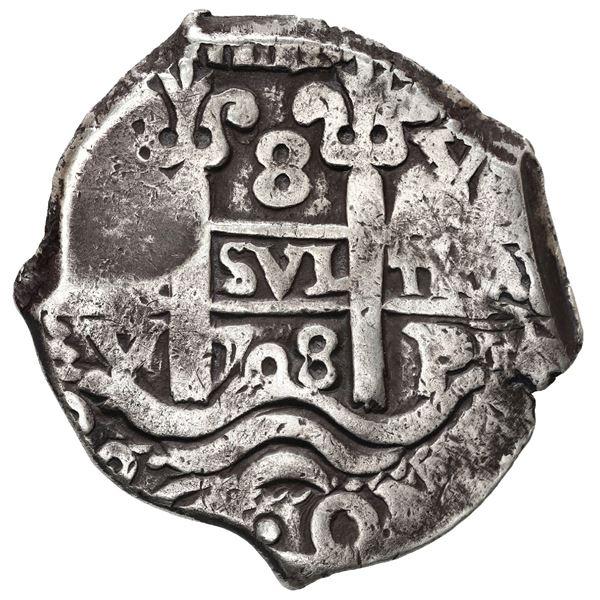 Potosi, Bolivia, cob 8 reales, 1708 Y.