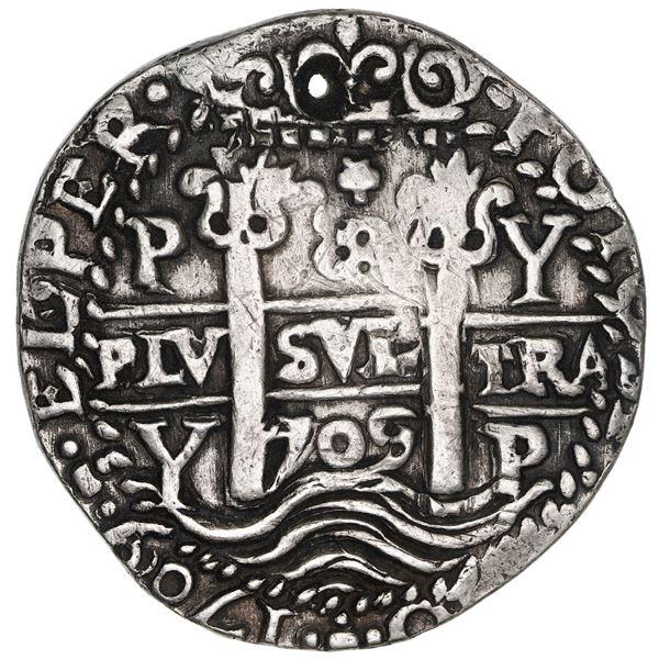 Potosi, Bolivia, cob 8 reales Royal (galano), 1709 Y, NGC XF details / holed.