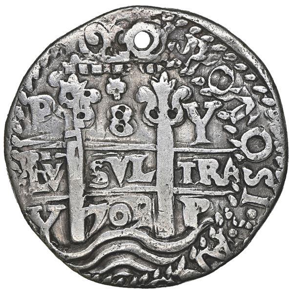 Potosi, Bolivia, cob 8 reales Royal (galano), 1709 Y, NGC VF details / holed.