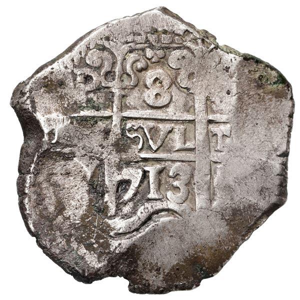 Potosi, Bolivia, cob 8 reales, 1713 Y.