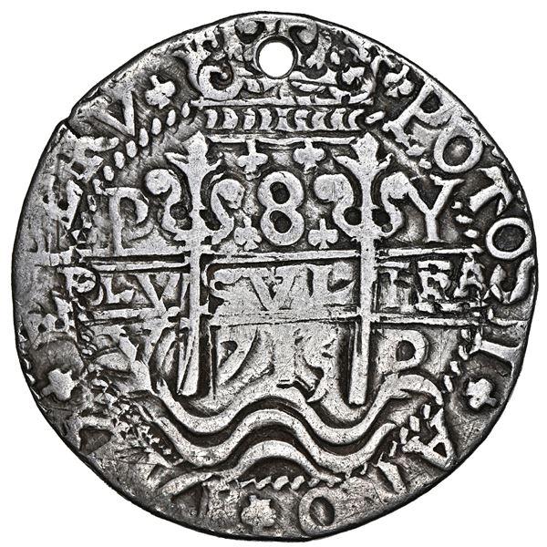 Potosi, Bolivia, cob 8 reales Royal (galano), 1715 Y, NGC VF details / holed.