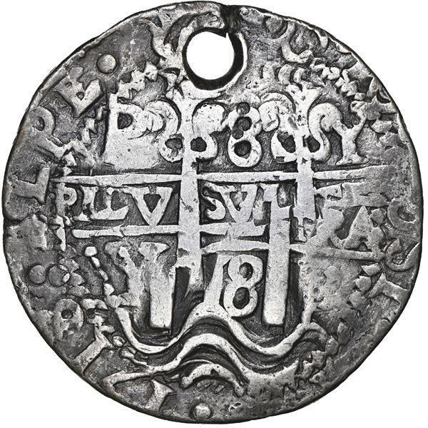 Potosi, Bolivia, cob 8 reales Royal (galano), 1718 Y, rare, NGC VF details / holed.