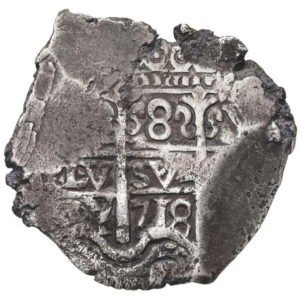 Potosi, Bolivia, cob 8 reales, 1718 Y.