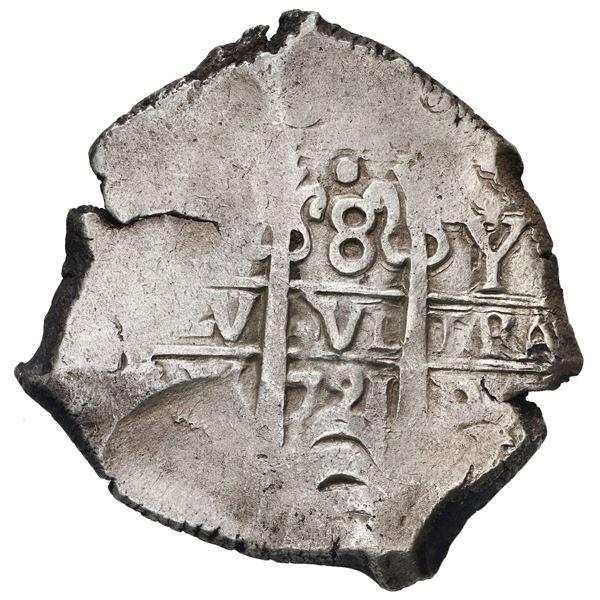 Potosi, Bolivia, cob 8 reales, 1721 Y.