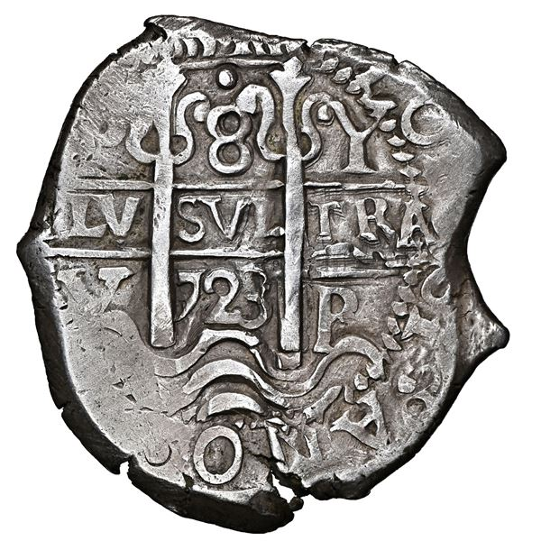 Potosi, Bolivia, cob 8 reales, 1723 Y, NGC AU 55, finest and only example in NGC census.