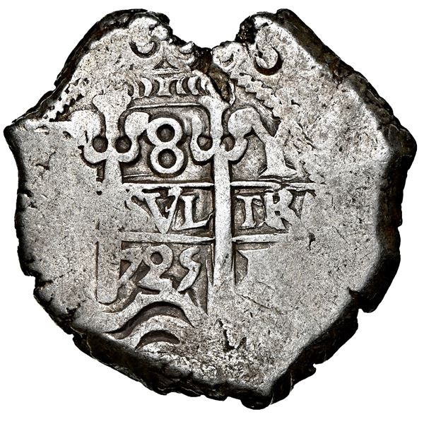 Potosi, Bolivia, cob 8 reales, 1725 Y, Louis I, rare, NGC AU 50, finest and only example in NGC cens