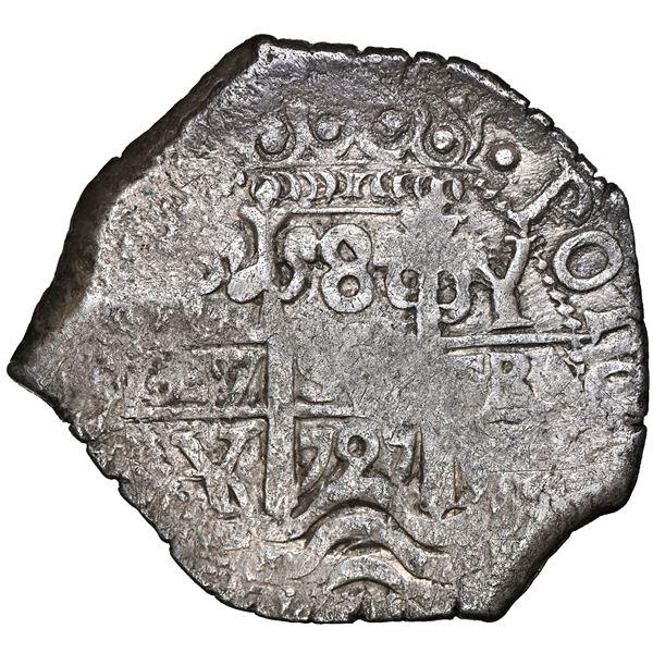 Potosi, Bolivia, cob 8 reales, 1725 Y, Louis I, rare, NGC AU details / environmental damage.