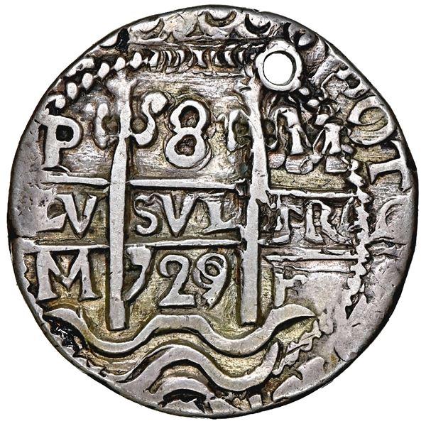 Potosi, Bolivia, cob 8 reales Royal (galano), 1729 M, rare, NGC holed, clipped.