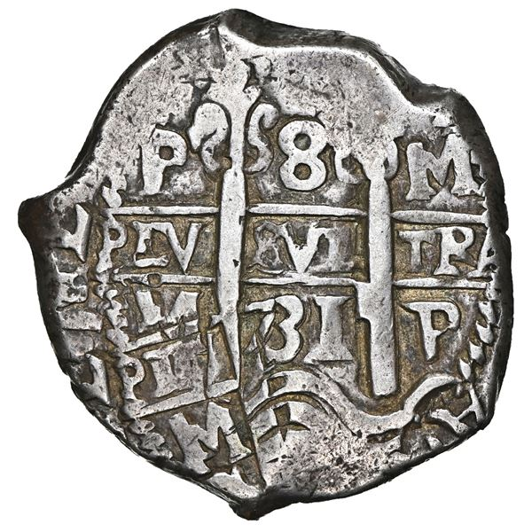 Potosi, Bolivia, cob 8 reales, 1731 M, NGC XF 40, finest and only example in NGC census, ex-Byers.