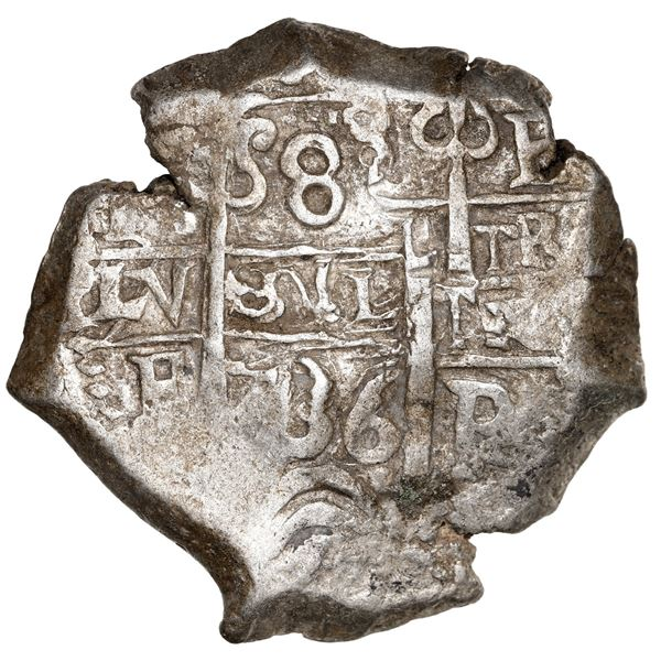 Potosi, Bolivia, cob 8 reales, 1736 E, NGC AU 55.