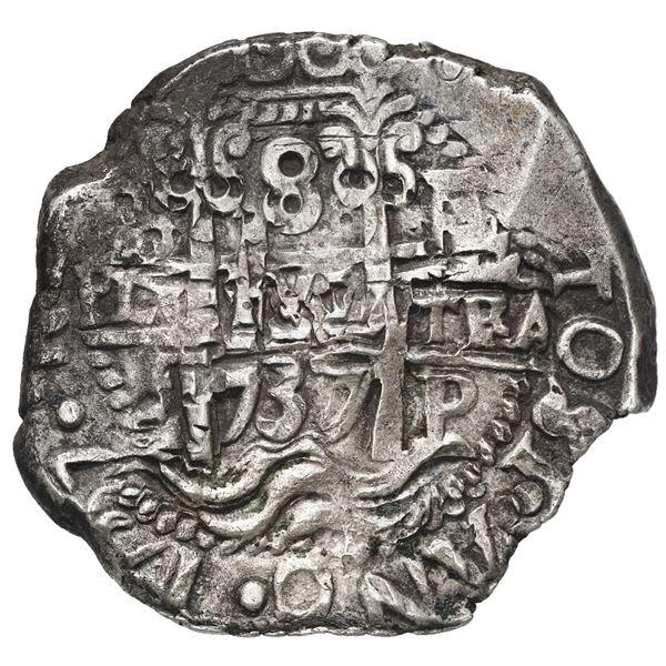 Potosi, Bolivia, cob 8 reales, 1737 E.
