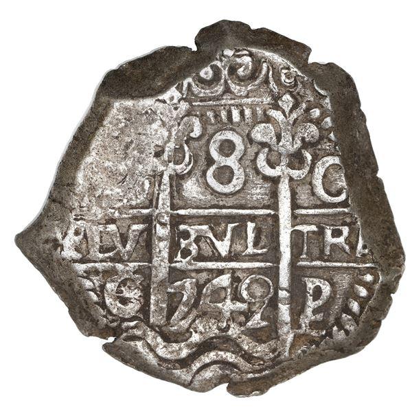 Potosi, Bolivia, cob 8 reales, 1742 C/P, rare, NGC AU 58, finest known in NGC census.