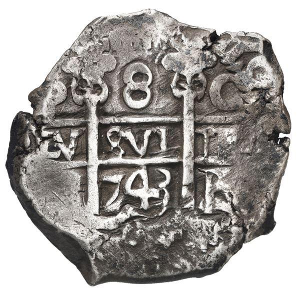 Potosi, Bolivia, cob 8 reales, 1743 C.