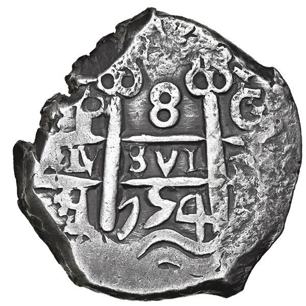 """Potosi, Bolivia, cob 8 reales, 1754 C+q, NGC XF 45 (""""top pop"""")."""