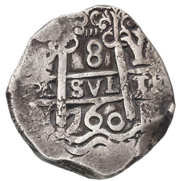 Potosi, Bolivia, cob 8 reales, 1760 Y-V, rare.