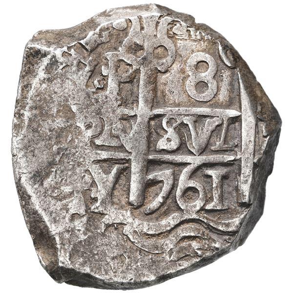 Potosi, Bolivia, cob 8 reales, 1761 V-Y.