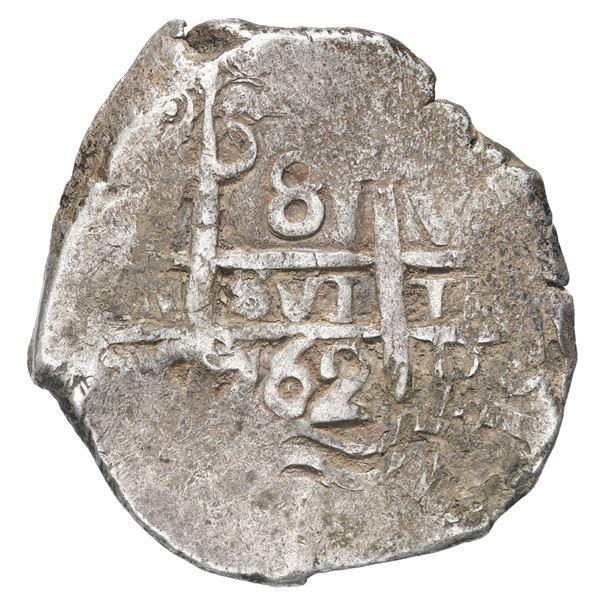 Potosi, Bolivia, cob 8 reales, 1762 V-Y.