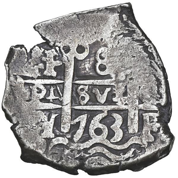 Potosi, Bolivia, cob 8 reales, 1763 V-Y, NGC AU 50.