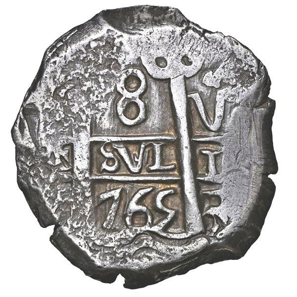 Potosi, Bolivia, cob 8 reales, 1765 V-Y, NGC AU 55.