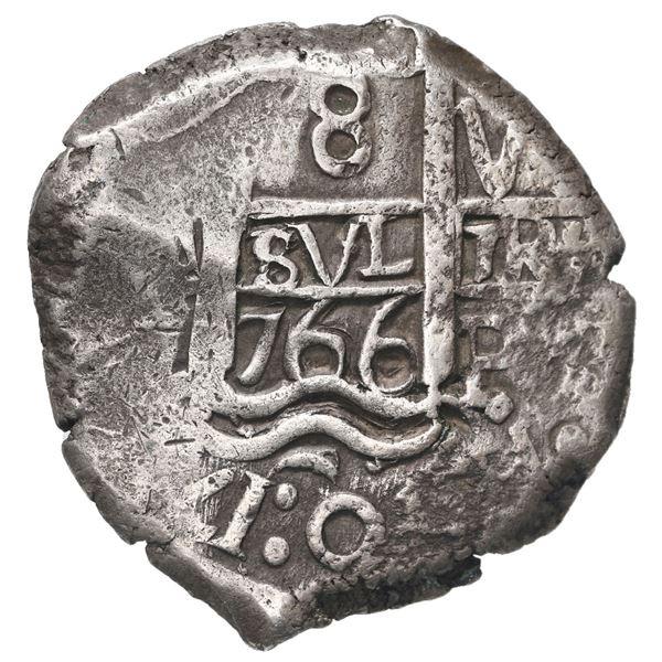 Potosi, Bolivia, cob 8 reales, 1766 V-Y.