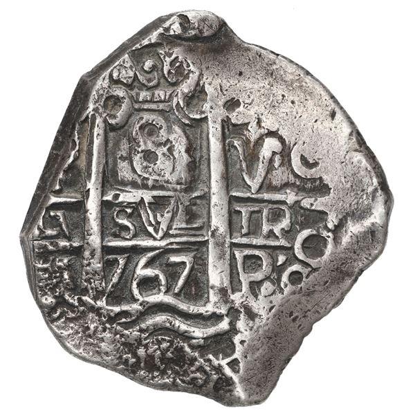Potosi, Bolivia, cob 8 reales, 1767 V-Y.