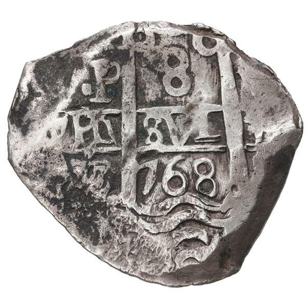 Potosi, Bolivia, cob 8 reales, 1768 V-Y.
