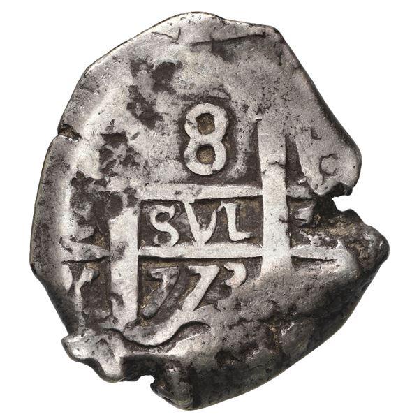 Potosi, Bolivia, cob 8 reales, 1773 V-Y, P at upper right (rare).