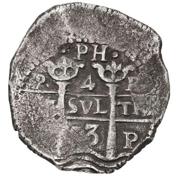 Potosi, Bolivia, cob 4 reales, 1653 E, dot-PH-dot at top.
