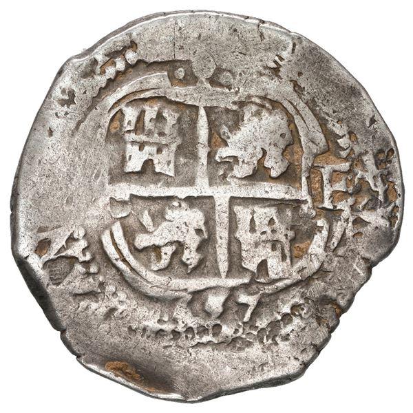 Potosi, Bolivia, cob 4 reales, 1657 E, pomegranate at top on both sides (rare).