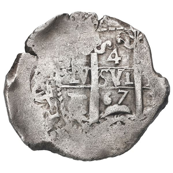 Potosi, Bolivia, cob 4 reales, 1667 E.