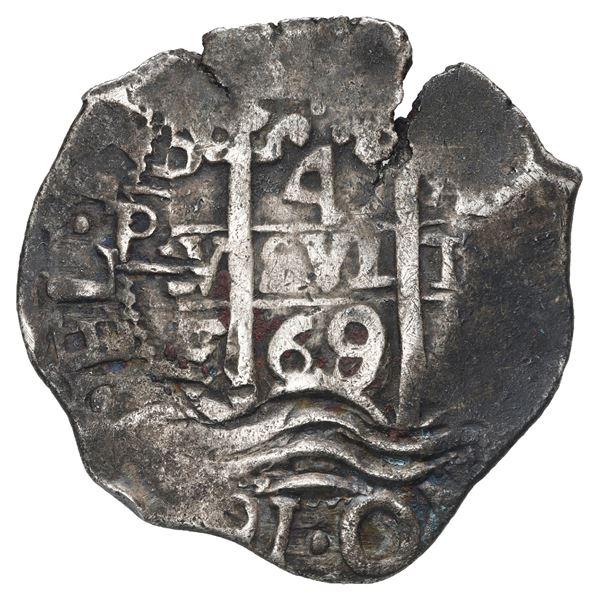 Potosi, Bolivia, cob 4 reales, 1669/8 E, very rare.