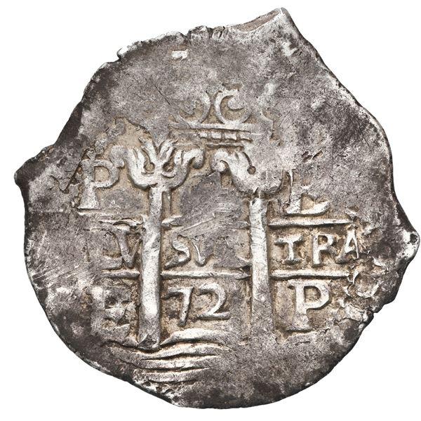 Potosi, Bolivia, cob 4 reales, 1672 E.