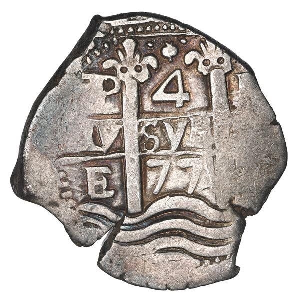 Potosi, Bolivia, cob 4 reales, 1677 E.
