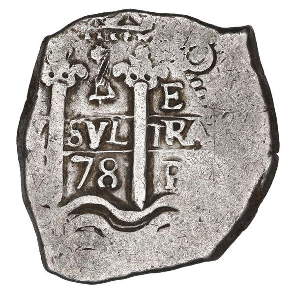 Potosi, Bolivia, cob 4 reales, 1678 E, retrograde denomination 4 (rare), ex-Sellschopp (plate).