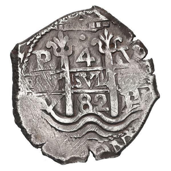 Potosi, Bolivia, cob 4 reales, 1682 V.