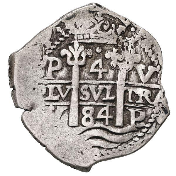 Potosi, Bolivia, cob 4 reales, 1684 V.