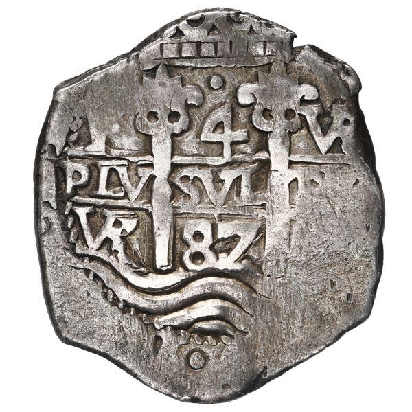 Potosi, Bolivia, cob 4 reales, 1687 VR.
