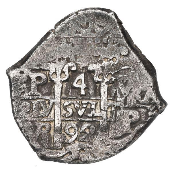 Potosi, Bolivia, cob 4 reales, 1692 VR.