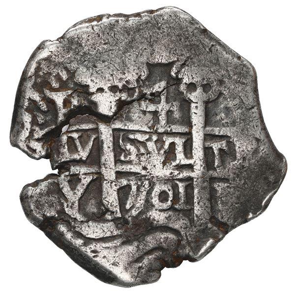 Potosi, Bolivia, cob 4 reales, 1701 Y, posthumous Charles II.
