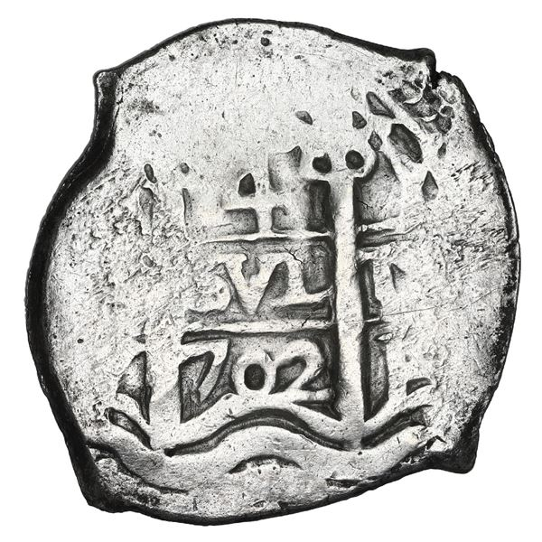 Potosi, Bolivia, cob 4 reales, 1702 Y, NGC AU 55, finest and only example in NGC census.