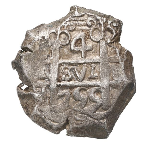Potosi, Bolivia, cob 4 reales, 1755 q.