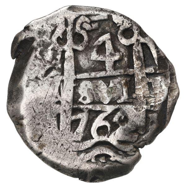Potosi, Bolivia, cob 4 reales, 1762 V-Y.