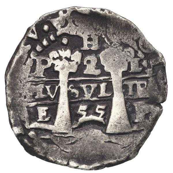 Potosi, Bolivia, cob 2 reales, 1655 E, with H at top, rare.