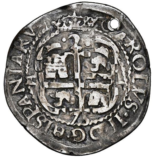 Potosi, Bolivia, cob 2 reales Royal (galano), 1675 E, unique, NGC VF details / holed.