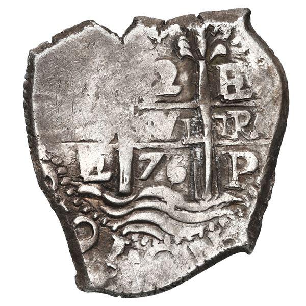 Potosi, Bolivia, cob 2 reales, 1676 E.